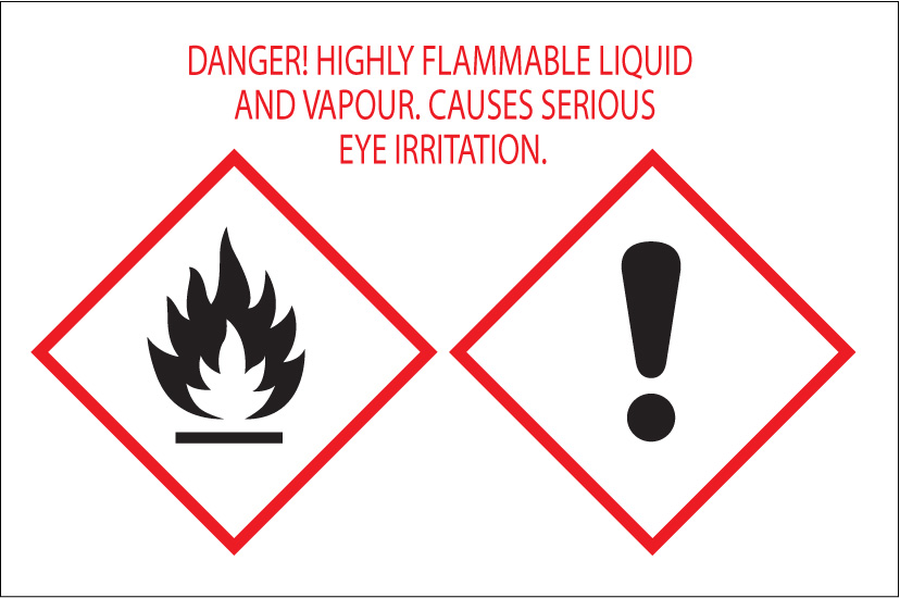 Flammable and irritating hazard pictograms.