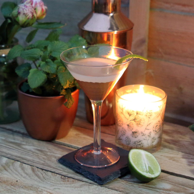 Slake Gin Gimlet cocktail in martini glass garnished with lime slip