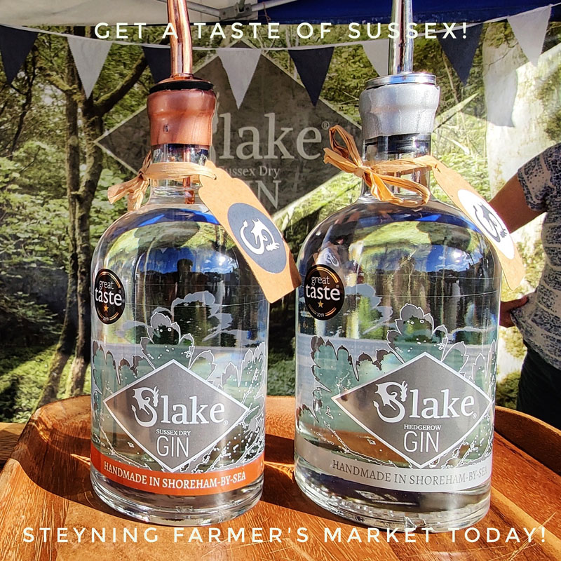 Bottles of Slake Gin at Steyning Farmer's Market