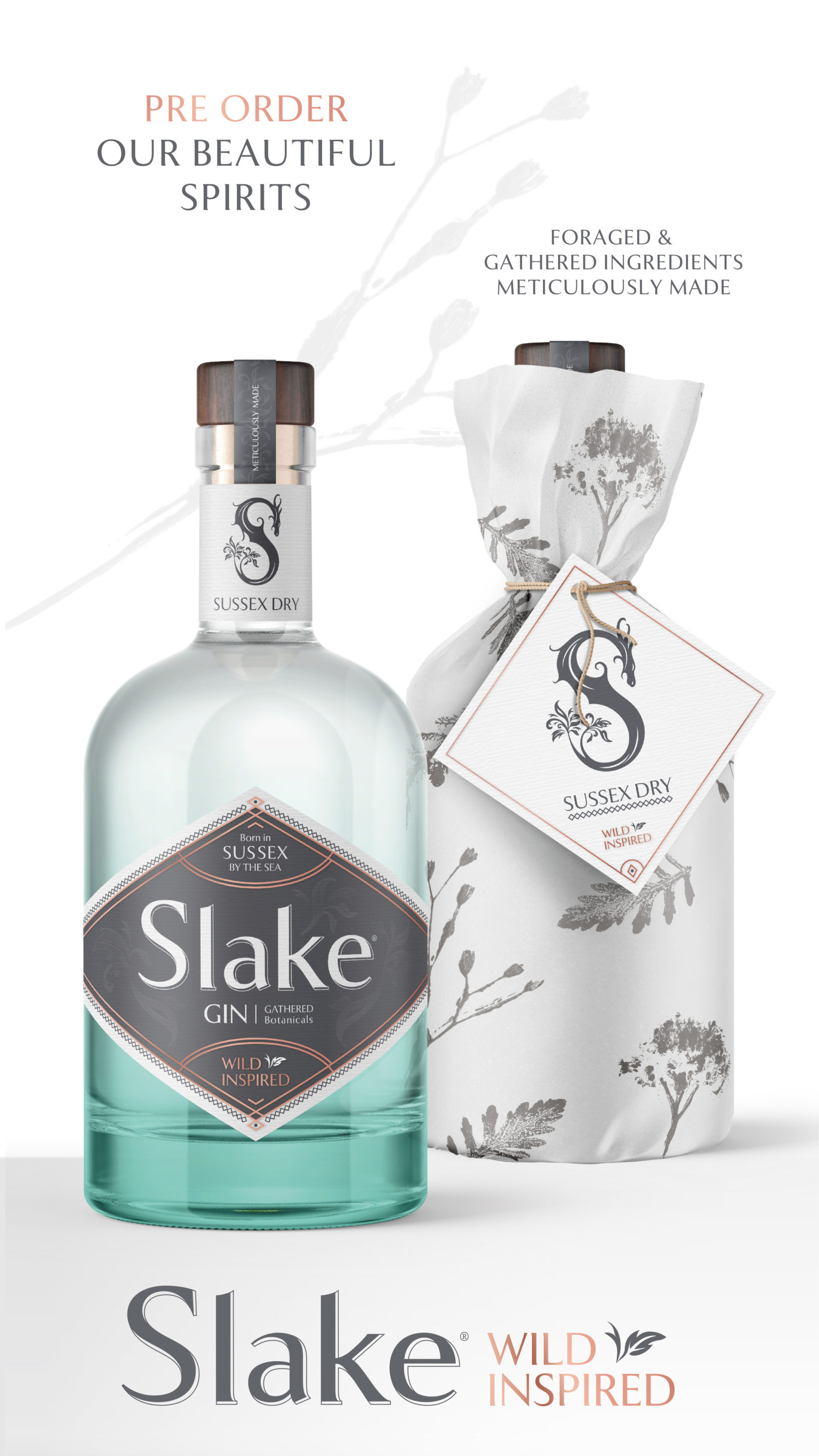 Slake Spirits Sussex Dry Gin bottles wrapped and unwrapped with aromatic botanical print Pre Order