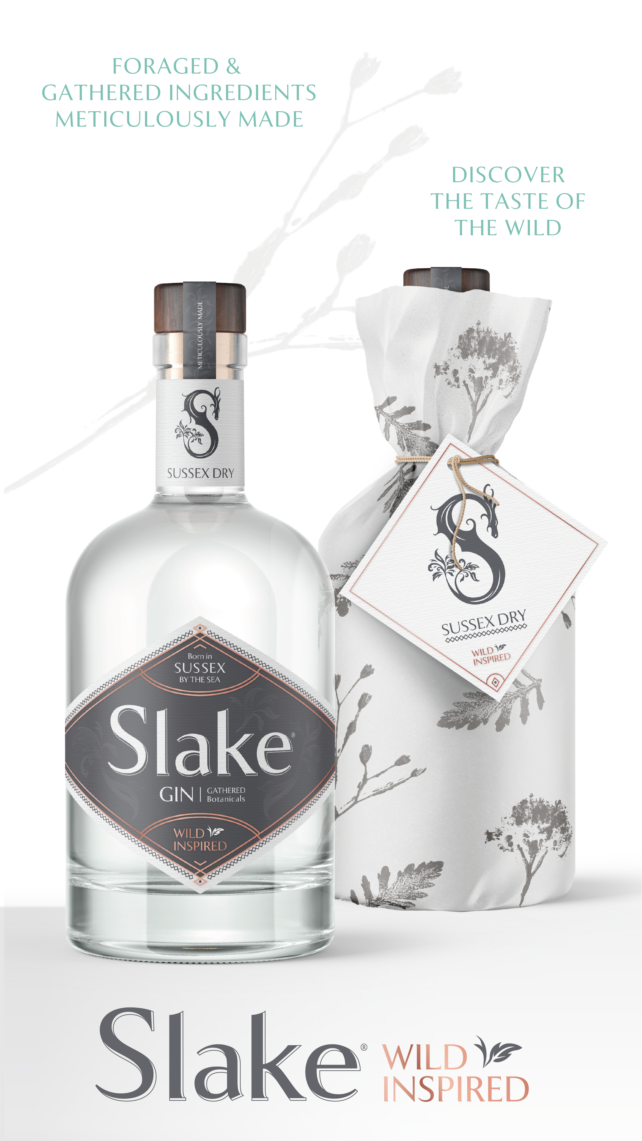 Slake Spirits Sussex Dry Gin bottles wrapped and unwrapped with aromatic botanical print