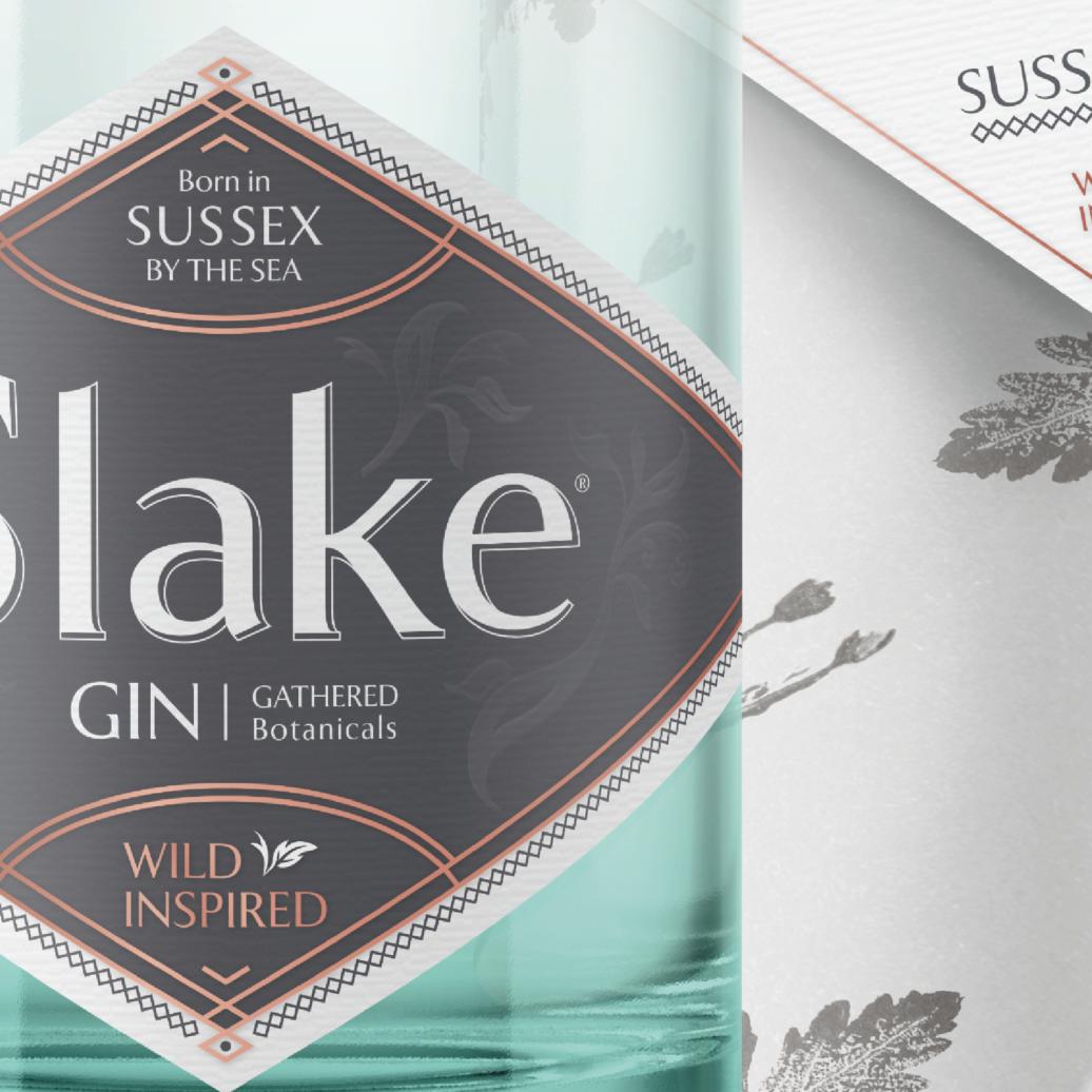 Slake Spirits Sussex Dry Gin Label & Wrap Closeup