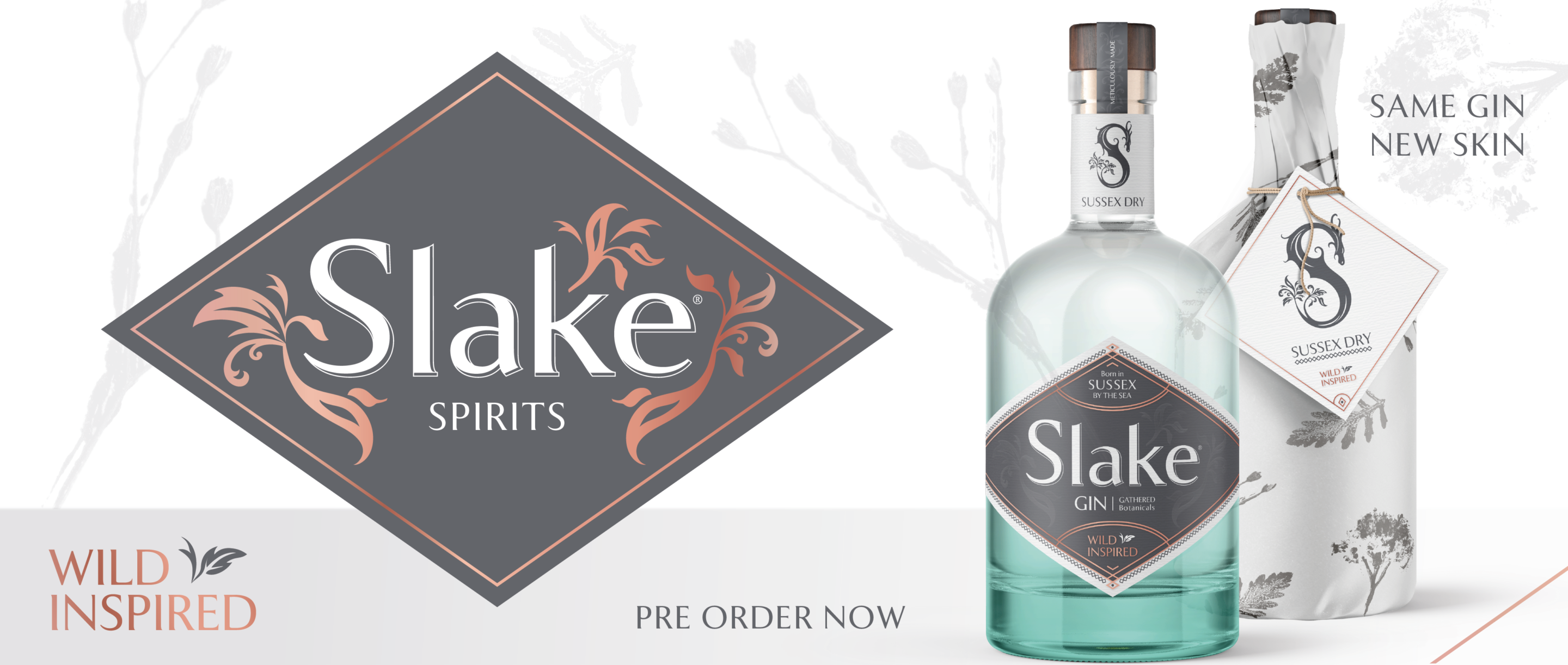 Slake Spirits Logo with bottle of Sussex Dry Gin in mezzo bianco green half recycled glass and wrapped with aromatic botanical print