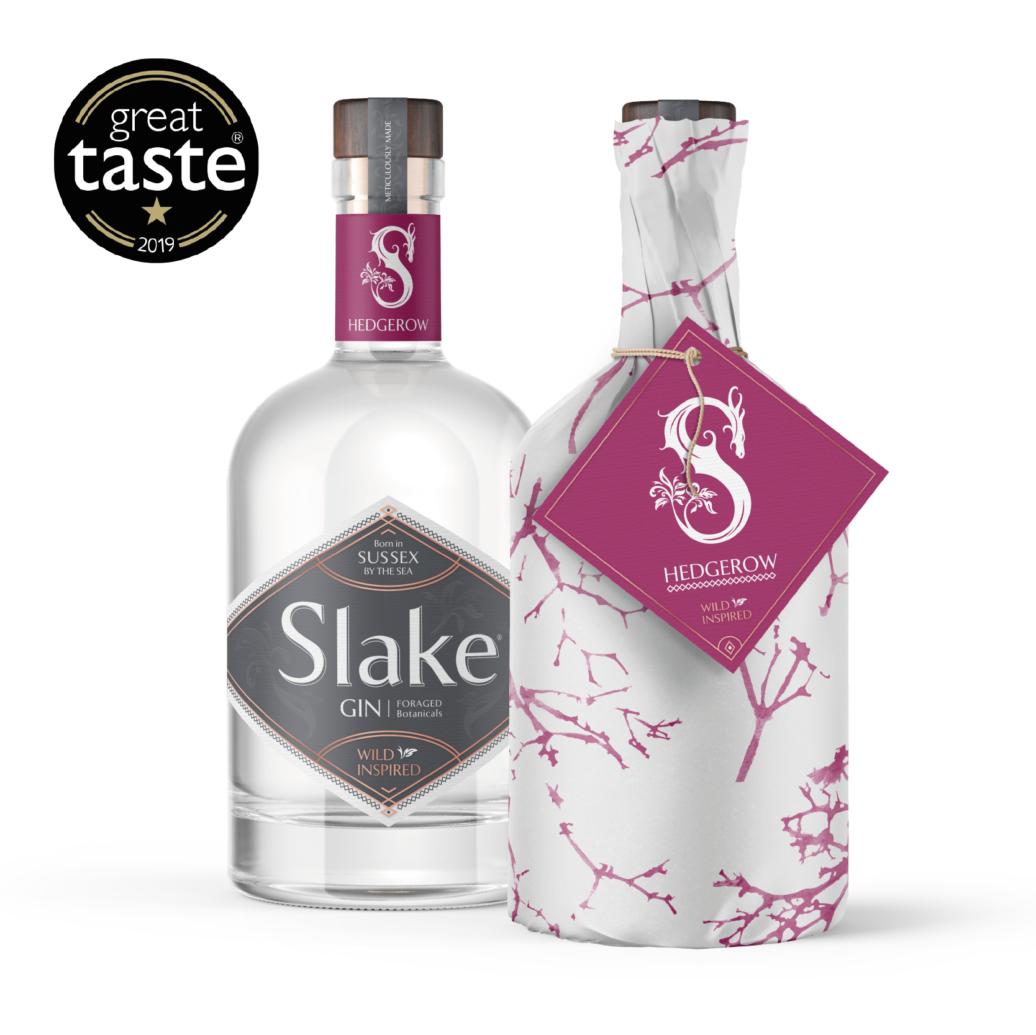 Slake Spirits Hedgerow Gin bottles wrapped and unwrapped