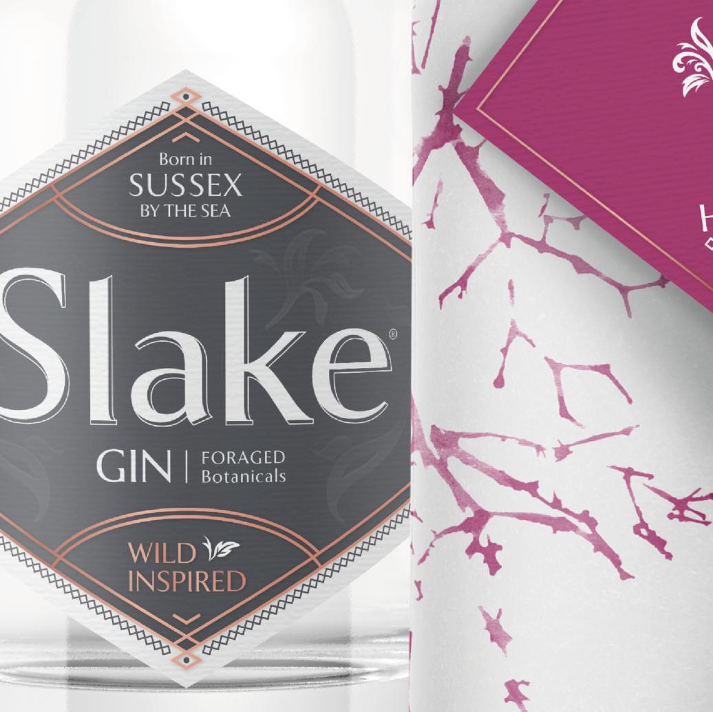 Slake Spirits Hedgerow Gin Label & Wrap Closeup