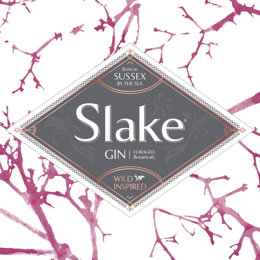 Slake Spirits Hedgerow Gin Label with elderberry stalk print