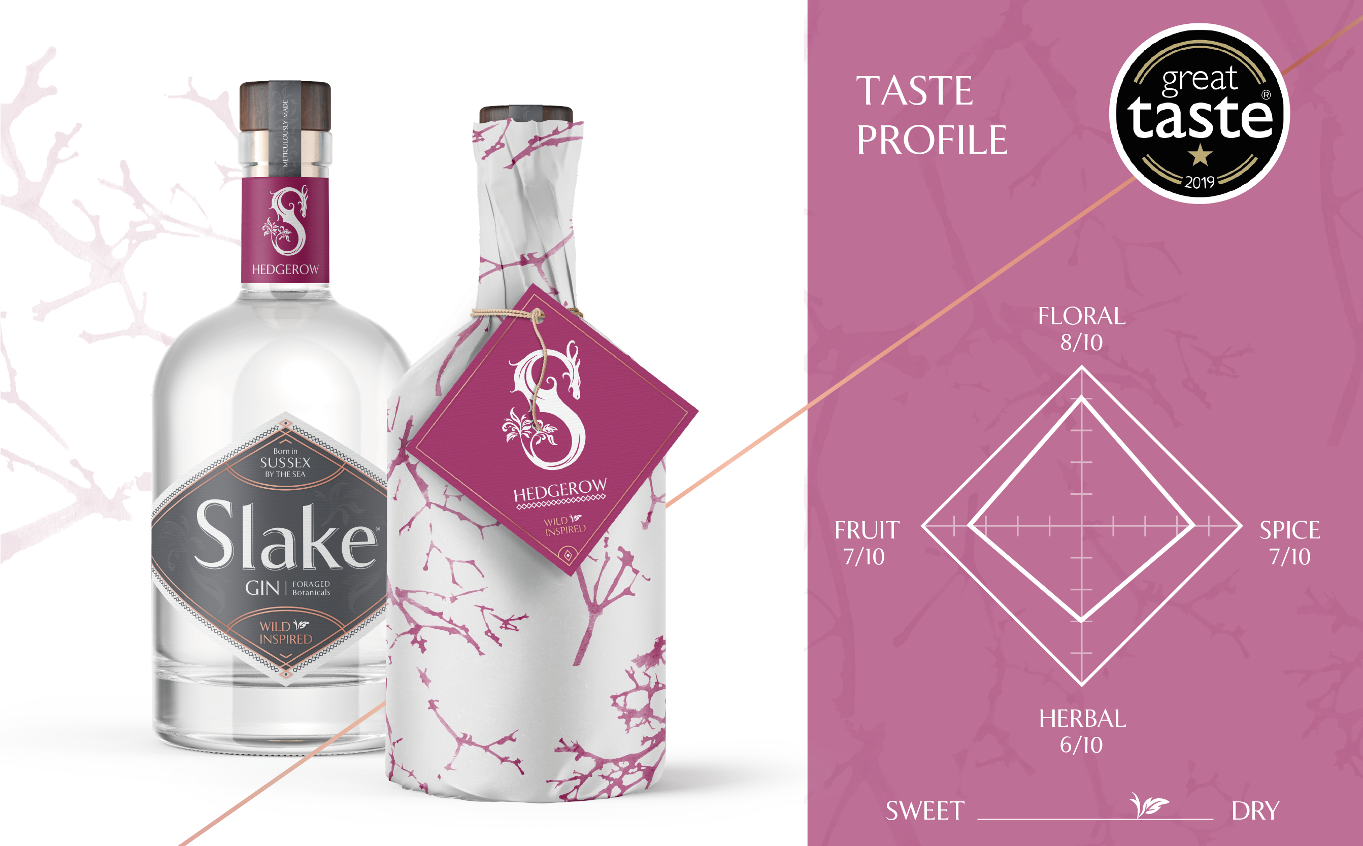 Slake Spirits Hedgerow Gin and flavour profile diamond