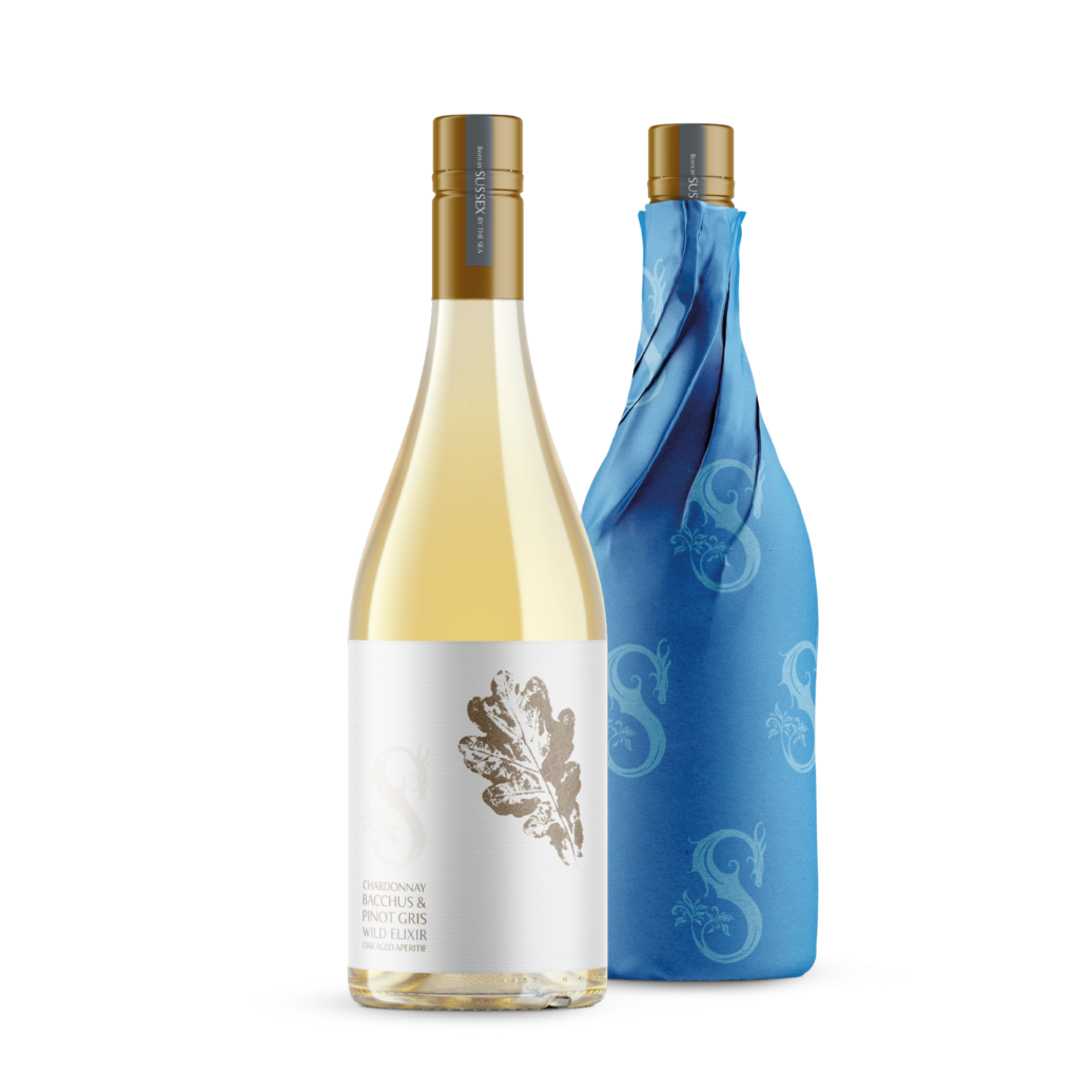 Wild Elixir Chardonnay, Bacchus and Pinot Gris Oak-aged Sussex Aperitif wrapped and unwrapped bottles