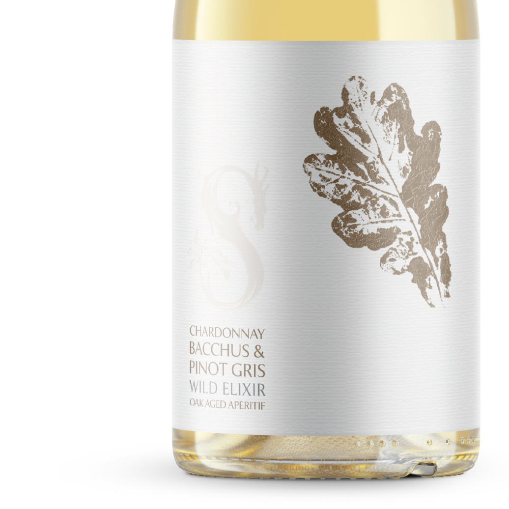 Wild Elixir Chardonnay, Bacchus and Pinot Gris Oak-aged Sussex Aperitif bottle label closeup