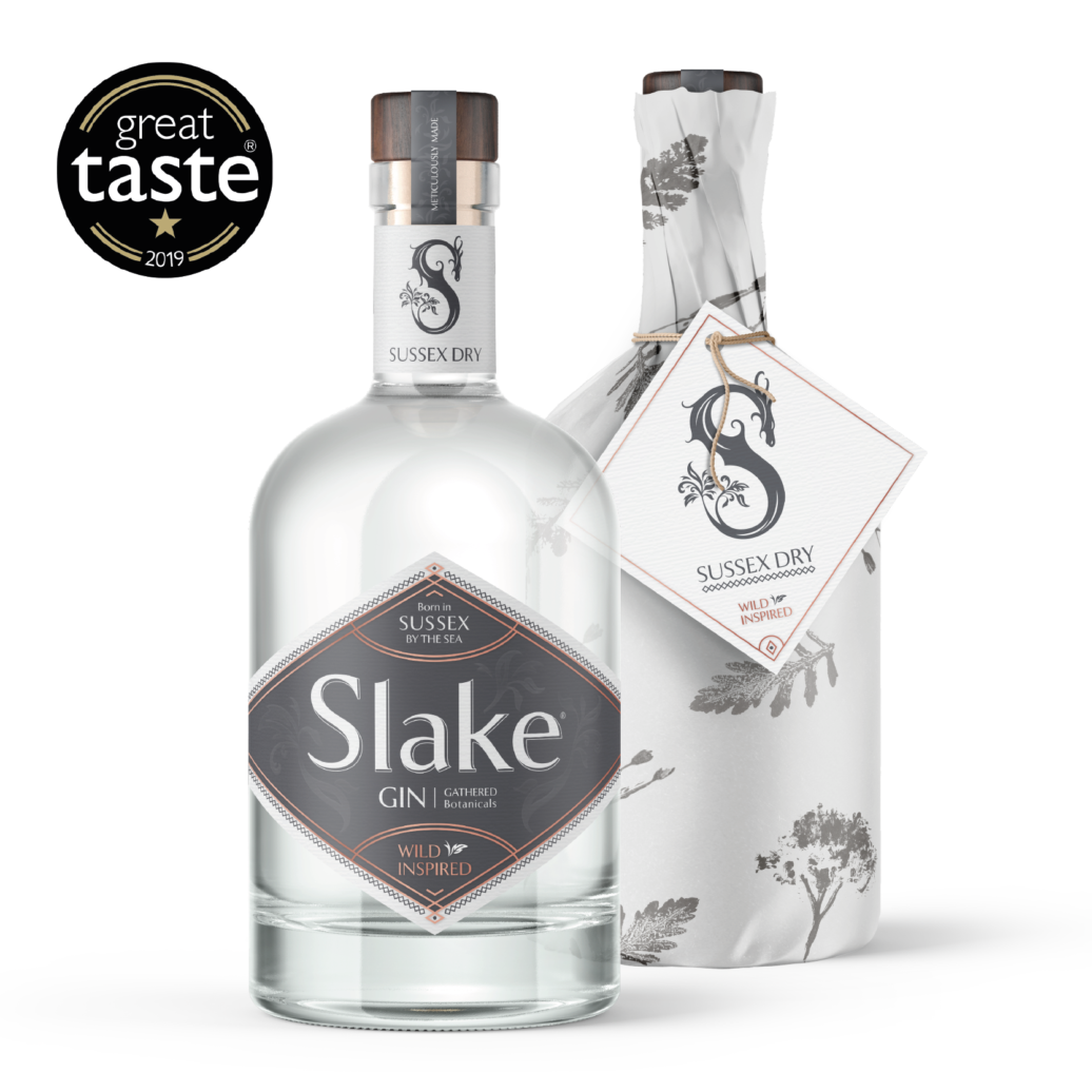 Slake Spirits Sussex Dry Gin bottles wrapped and unwrapped