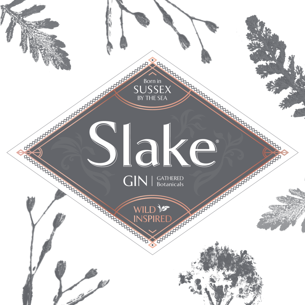 Slake Spirits Sussex Dry Gin Label with aromatic botanical print