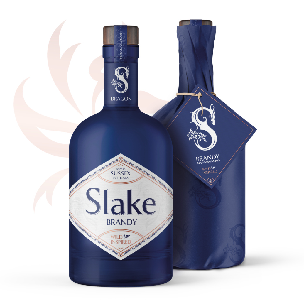 Slake Spirits Dragon Brandy blue bottles unwrapped and wrapped in Sussex Knucker print coming soon