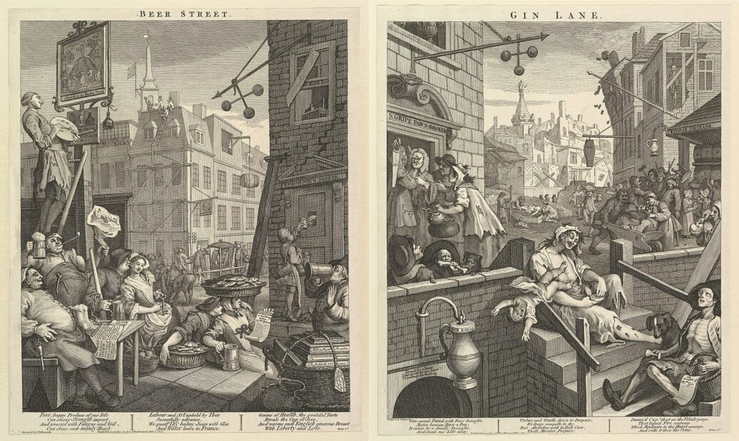 Depictions of Beer Street & Gin lane by William