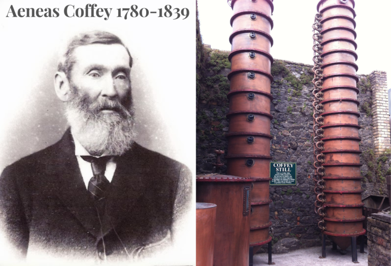 Left image: Photograph of Aeneas Coffey (1780-1839) taken in 1850 Credit to user: Masterofmalt Wikipedia Commons. Modified to include the name and year of birth/death and used under creative commons license https://creativecommons.org/licenses/by-sa/4.0/deed.en This work may be used under the same license terms.  Right image: Photograph of a Coffey Still at Kilbeggan Distillery in County Westmeath in Ireland. Credit to user: HighKing at Wikipedia Commons. Modified and used under license https://creativecommons.org/licenses/by-sa/3.0/deed.en This work may be used under the same license terms.